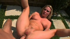 Blonde beauty with a perfect ass Harmony Rose gets fucked by the pool
