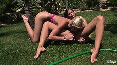 The wider her legs are spread, the better cunnilingus blonde will get