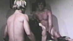 Retro gays celebrating birthday with a huge unleashed ass orgy