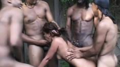 Exciting Latina Marlena sucks and fucks as many big cocks as she can