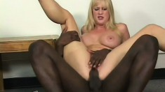 Busty blonde Milf is a slutty bitch who loves big black dick sticking her
