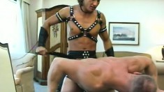 Jeff Palmer is dressed in leather while he gets sucked and bangs some ass