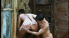 Handsome gay cowboys satisfying their sexual urges in the barn