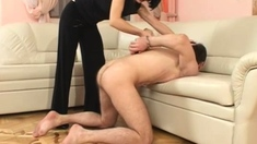 Domina Fills Asshole With A Huge Strapon