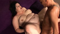 Chunky brunette bends over to have her delicious butt slammed hard