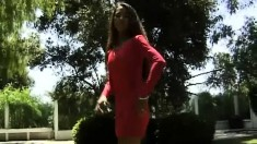 Pua Is Outside Posing In Her Red Dress And Shows Her Fine Ass