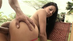 Sexy brunette sits by the pool until he fingers and fucks her wet hole