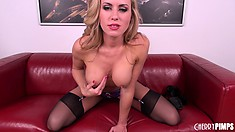 Terrific tease, Randy Moore plays with her cute boobies and poses