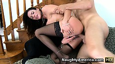 Busty Ariella Ferrera wears her sexy thigh high stockings as she gets banged