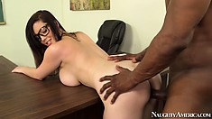 Naughty schoolgirl Noelle Easton swallows the teacher's big black tool