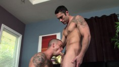 Lustful stud displays his oral talents and gets his ass drilled hard