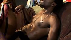 Ebony superstar Kelly Star makes his big black cock explode it's load