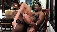 The Ebony Babe Offers The Black Dude A Great Blowjob And Madly Rides His Huge Dick