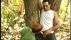 Uninhibited dirty studs with bulging cocks fuck each other in the forest