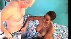 Busty black milf has a horny white guy filling her tight hairy pussy with his dick