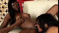 Two pussy-loving ebony chicks can't wait to lick each other's clits
