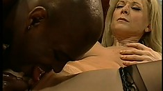 Busty blonde pornstar has a black stud fucking her pink pussy with his huge dick