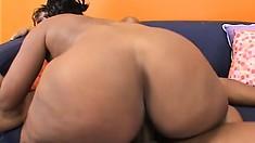 Smoking hot black broad works her magic on her man's big dick