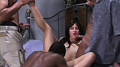Lovely Latina with a hot ass has two guys pounding her tight pussy all over the bed