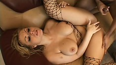 Nasty blonde milf with big boobs gets drilled rough by three hung guys