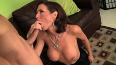 Babe in stockings gets freaky with her lover's big hard cock