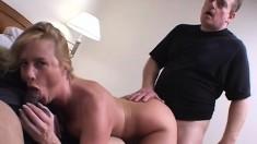 Smoking hot blonde MILF teases before pleasing two big schlongs